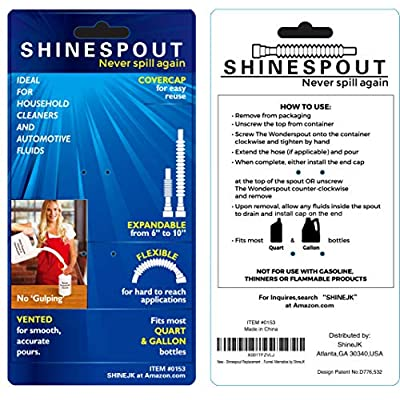 SHINESPOUT Oil Funnel Replacement for All Gallon and Quart Bottles - Patented Vented Bottle for an Spill Free Easy Pour - 6 inches to 10 inches Extendable and Flexible Neck for Hard Angles: Automotive