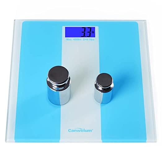 Canwelum - Bascula de baño digital de precisión, Báscula baño digital - Pantalla LCD luz de fondo azul y sólida plataforma de cristal templado (azul): ...