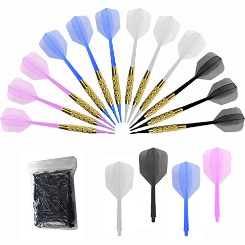 Bar Darts - Plastic Tip Darts Set - 12 Pcs 16 Grams Soft Tip Dart for Electronic Dart Board - Plastic Darts Shafts and Flights, 60 Extra Safety Tips