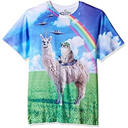 Goodie Two Sleeves Men's Humor Cat Rides Llamacorn Adult T-Shirt, Sublimated, Large