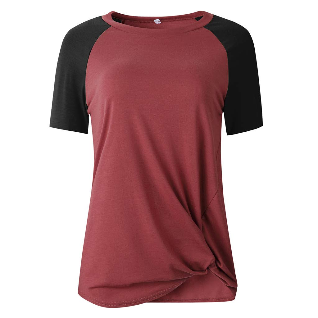 Libermall Women's Casual Short Sleeve T-Shirt Round Neck Patchwork Loose Tunic Shirt Blouse Top for Teen Girls Red by Libermall Blouses (Image #2)