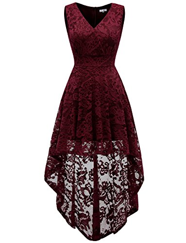 Dressystar 0022 Sleeveless Hi-Lo Lace Bridesmaid Dress Cocktail Party Dress L Burgundy by Dressystar