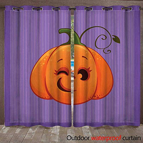 RenteriaDecor Outdoor Curtains for Patio Sheer Vector Illustration of a Cartoon Winking Halloween Pumpkin W72 x L84 -