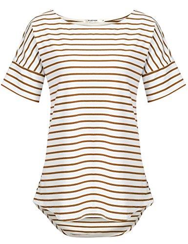 - POGTMM Women's Casual Raglan Short Sleeve Patchwork Striped Cotton Shirts Loose T-Shirt Tunic Tops (Coffe, US XL(16-18)) Coffee