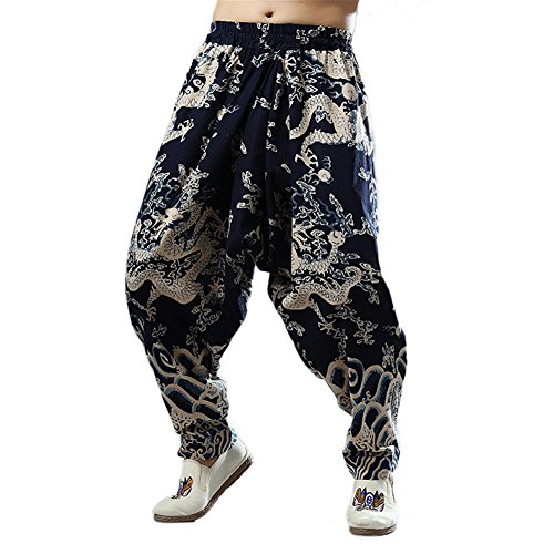 Idopy Men`s Chinese Traditional Dragon Baggy Harem Pants Trousers L
