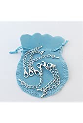 Necklace Extender Chains, Set of 6, Sterling silver, 12mm lobster clasp, waterdrop charm -  Bag color and style may vary.
