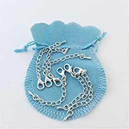 NecklaceExtender Chains, Setof 6, Sterling Silver, 12mm Lobster Clasp, Waterdrop Charm, Keeper Bag