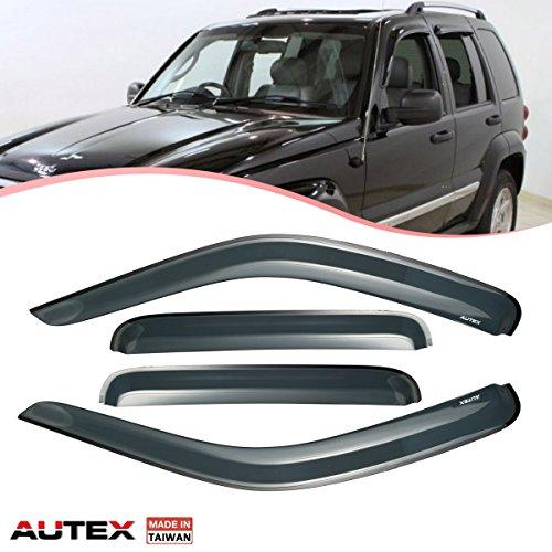 - AUTEX Window Visor Compatible with Jeep Liberty 2002 2003 2004 2005 2006 2007 Side Window Wind Deflector Sun Rain Guard Tape On