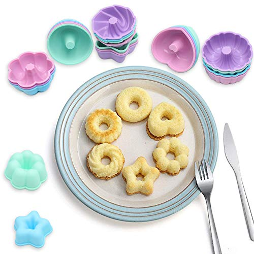 To encounter 24Pcs Silicone Donut Molds Nonstick Muffin Cupcake Liners Reusable Baking Cups Easy