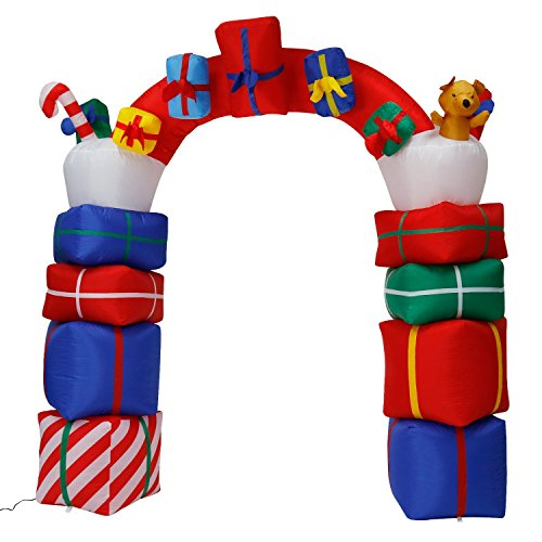 8 Foot Christmas Inflatables Airblown Gift Boxes Archway Xmas Blow Up Decoration for Yard Lawn Garden Home Holiday Outdoor Decor by Kemper King