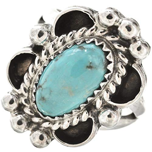 Kingman Turquoise Ladies Ring Navajo Silver Wire Drop Design 0023