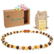 Baby Amber Teething Necklace - Raw Baltic Amber Necklace For Kids Natural Teething Pain Relief 1 Unisex Multi Color (12.6 inches) + 3pcs Baby Gift Sets (Red Yellow Green)