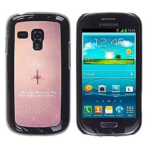 TopCaseStore / la caja del caucho duro de la cubierta de protección de la piel - Airplane Travel Sky Vignette Stars Quote - Samsung Galaxy S3 MINI NOT REGULAR! I8190 I8190N