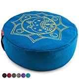 "Peace Yoga Zafu Meditation Yoga Buckwheat Filled Cotton Bolster Pillow Cushion with Premium Designs - Sun Blue 16"" x 16"" Inch"