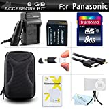 8GB Accessory Kit For Panasonic LUMIX DMC-ZS100, DMC-ZS60, DMC-ZS60K Digital Camera Includes 8GB High Speed SD Memory Card + Replacement (1200Mah) DMW-BLG10 Battery + Ac/Dc Charger + Case + More