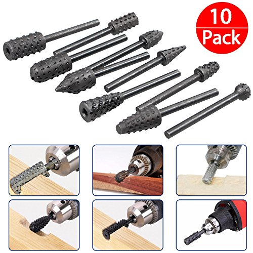 10-pack Creative Alloy Steel Woodworking Rasps Carving Burr Bit Rotary Bur - Wood Bur