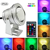 S NMT LED Underwater Flood Light IP68 AC/DC 12V 10W Waterproof Colors Landscape Fountain Lamp with IR Remote Control (RGB+Warm White, 4Pack,1M Output Cable,No Plug)
