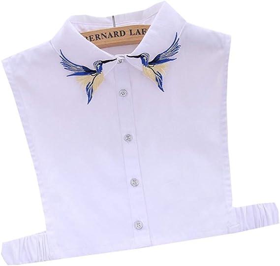 MI TU Mujeres Blusa Sudadera Chaleco Solapa Falso Falso Cuello Desmontable Vertical Bordado Media Camisa Botón de Corbata Ropa Blusa de Solapa Top Accesorios: Amazon.es: Ropa y accesorios
