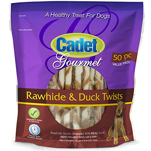Cadet Rawhide and Duck Twist Dog Treats, 50 Ct