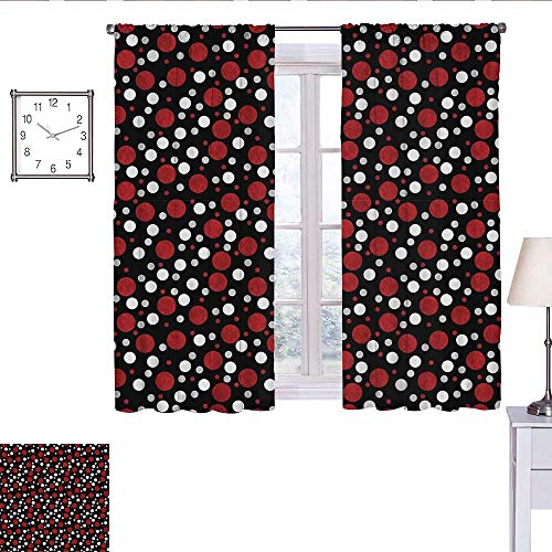 alisoso Red and Black Black Out Window Curtain Retro 60s 70s Cartoon Snow Like Polka Dots Circles Rounds Curtain Valance White Pale Grey and Burgundy W63 x L45 (Dot Valance Circle)