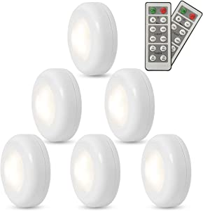 FXWSKY LED Puck Lights Battery Operated 6 Pack, Under Cabinet Lighting Wireless with Remote Control Timer Function Closet Light 4000k