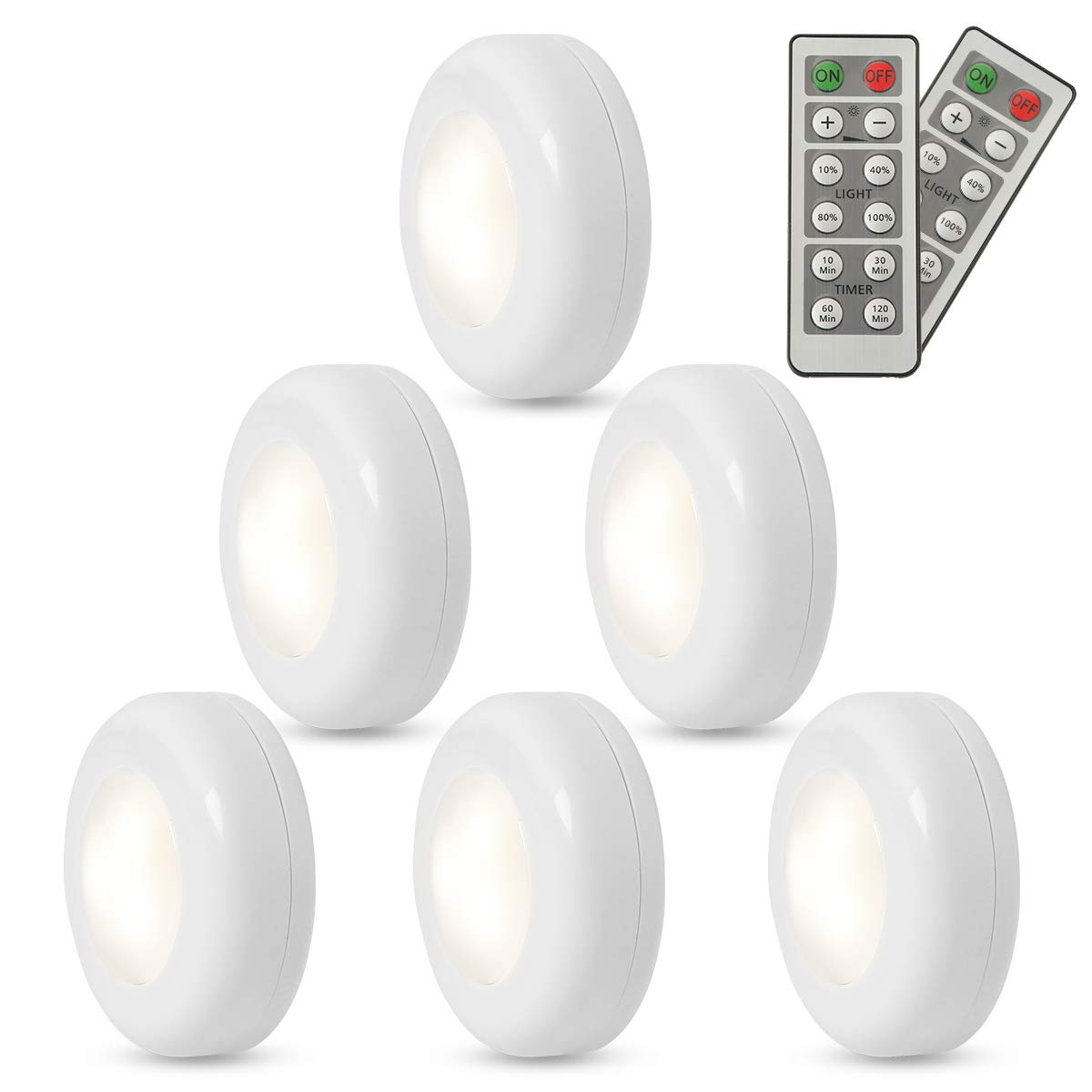 FXWSKY LED Puck Lights Battery Operated 6 Pack, Under Cabinet Lighting Wireless with Remote Control Timer Function Closet Light 4000k by FXWSKY