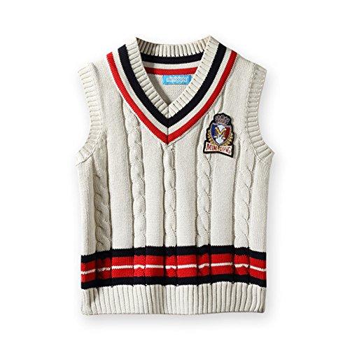 Whites Wool Uniform - MMX Boys School Uniforms Sweater Vests Kids Sleeveless Knitwear Vest For Autumn and Winter (140, White)
