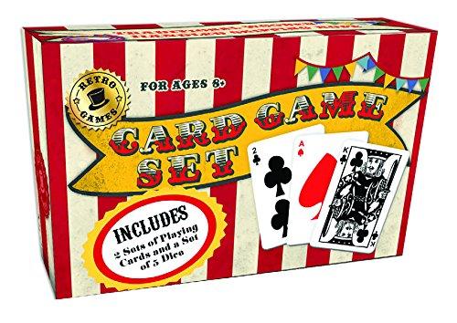 Robert Frederick Learn to play set con libro –  Carte da gioco & dice vintage rosso e bianco a righe, colori assortiti RFS10552