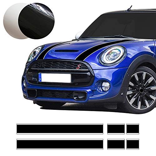 Mini Bonnet Stripes - Car Styling Hood Bonnet Stripes Sticker Trunk Rear Engine Cover Vinyl Decal Stickers for Mini Cooper R56 R57 F55 F56 Accessories (Black-White)