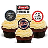 40th Birthday Male Funny Mix, Edible Cupcake Toppers - Stand-up Wafer Cake Decorations by Made4You