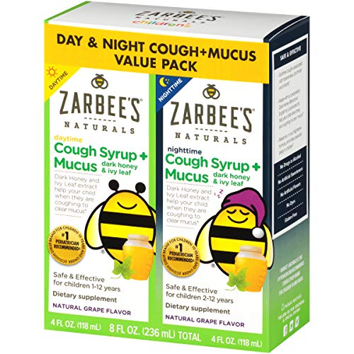 Zarbee's Naturals Children's Cough Syrup* + Mucus Daytime  Nighttime, Grape Flavor, 4 Ounces (Pack of 2)