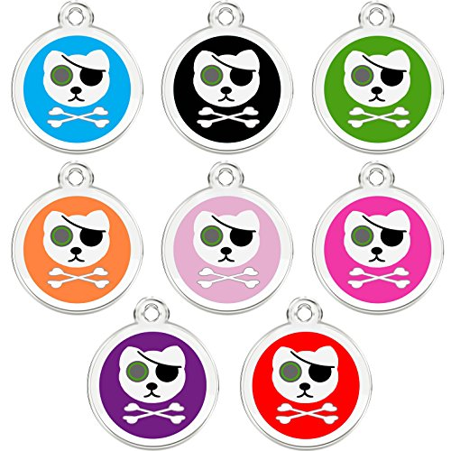 CNATTAGS Stainless Steel with Enamel Pet ID Tags Designers Round Pirate Cat (Red)