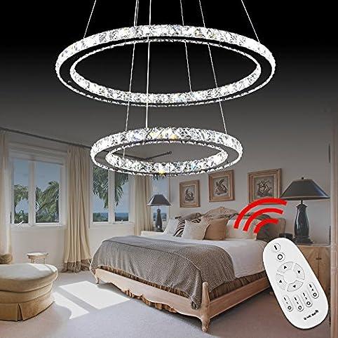 vingo 48w 2 ringe dimmbar led hhenverstellbar hngeleuchte pendelleuchte deckenlampe wohnzimmer deckenleuchte wohnraum schlafzimmer kristall hngelampe - Hangelampe Wohnzimmer Led