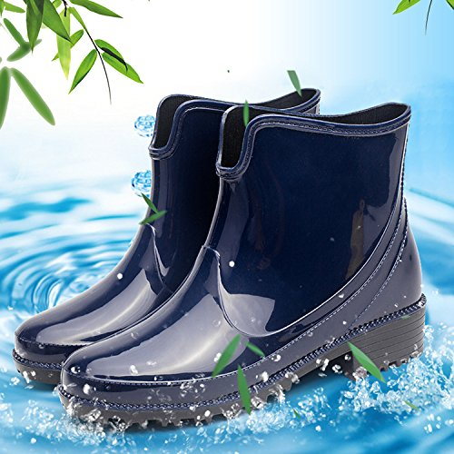 Slip for Ladies Boots Ankle Shoes Blue Chelsea Short Women Waterproof Rain Inornever on Booties Rain Rubber gHwPxfw