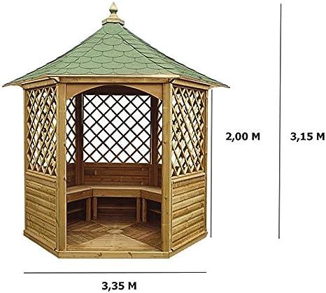 habrita – habrita – Gazebo de jardín hexagonal (techo en tejas – 4 ...