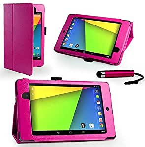Classic Type New Asus Google Nexus 7 II 2nd Gen Stand Folio Wallet Flip Leather Case Cover Include Calans Screen Protector Mini Stylus -(Hot Pink)