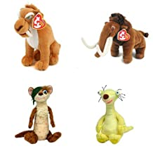 Ty Ice Age Set of 4 Beanie Babies (Buck, Diego, Sid, Manny)