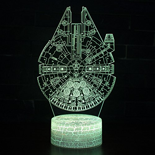 LED 3D Optical Illusion Smart 7 Colors Night Light Desk Lamp with USB Cable (Millennium Falcon)