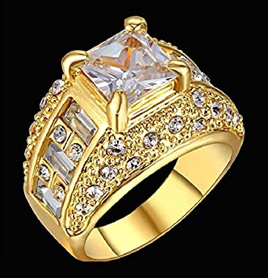 42a05ca1f9143 Men's 18K Gold Plated Ring with Topaz gemstone Size US 9: Amazon.com ...