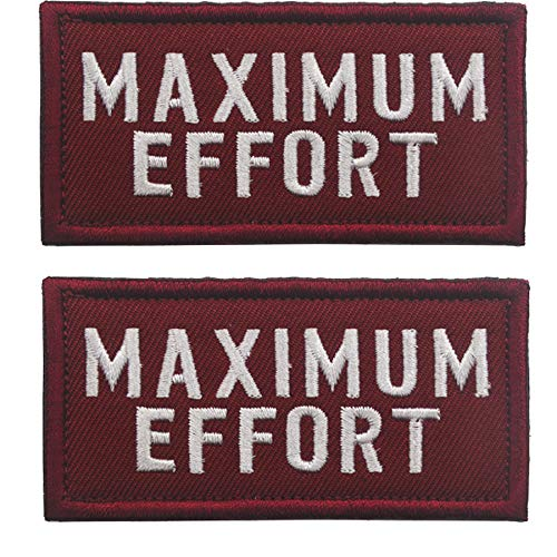 2 PCS Maximum Effort Deadpool Tactical Morale Hook Patch DIY Embroidered Patch Applique for Jacket T Shirt Decoration Symbol Badge Cloth Sign Costume -