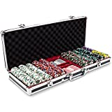 500ct Showdown Poker Chip Set in Black Aluminum Carry Case, 13.5-gram Heavyweight Clay Composite by Claysmith Gaming