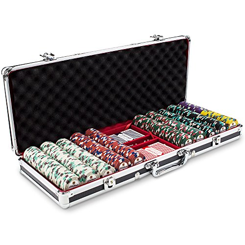 Claysmith Gaming 500ct Showdown Poker Chip Set in Black Aluminum Carry Case, 13.5-Gram Heavyweight Clay Composite ()