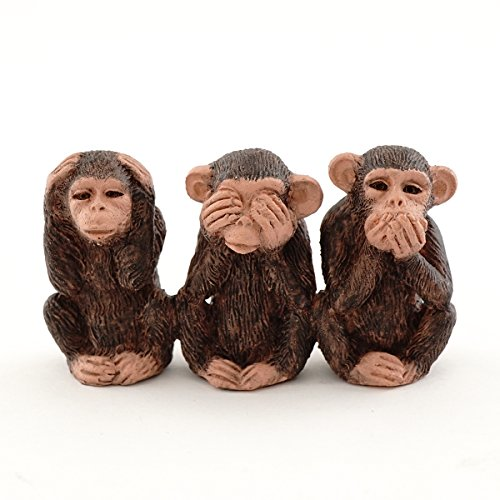 Top Collection Miniature Fairy Garden and Terrarium Three No Evils Chimpanzees Figurine -