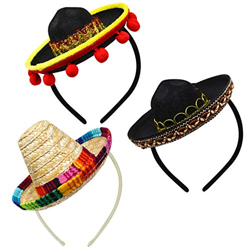 3 PCs Cinco De Mayo Fiesta Fabric and Straw Sombrero Headbands Party Costume for Fun Fiesta Hat Party Supplies, Luau Event Photo Props, Mexican Theme Decorations for Carnivals Festivals, Dia -