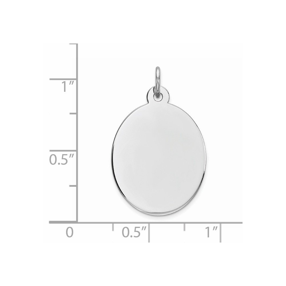 Sterling Silver Engravable Oval Disc Charm 0.9IN long x 0.7IN wide