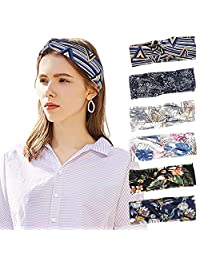 MoKo Headbands for Women 6 Pack, Stylish Vintage Floral Elastic Headwrap, Lightweight Multi-Use Bandana Headwear, Seamless Breathable Hair Band for Washing Face, Fitness, Running, Cycling, Yoga