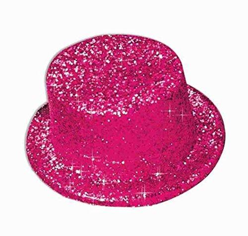 Forum Novelties 51954 Unisex-Adults Glitter Top Hat Hot, Pink, Standard, Multicolor ()