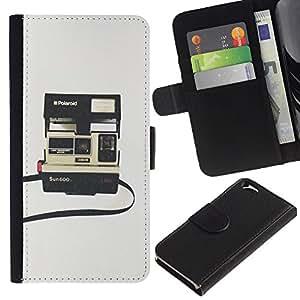 LASTONE PHONE CASE / Lujo Billetera de Cuero Caso del tirón Titular de la tarjeta Flip Carcasa Funda para Apple Iphone 6 4.7 / instant camera photography retro