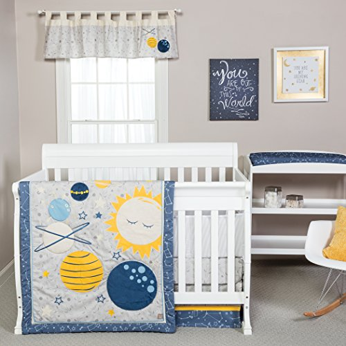 Trend Lab Galaxy 3 Piece Crib Bedding Set, Blue/Gray/Yellow (Blue Yellow Bedding Gray)