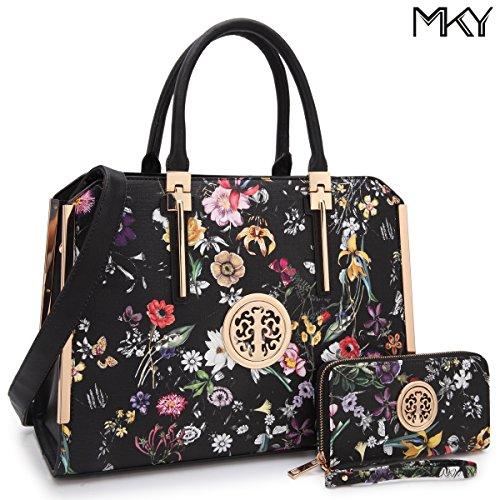 Large Satchel Handbag Designer Purse Wallet Set Top Handle Shoulder Bag 2 pieces (7555-Black Floral Print)